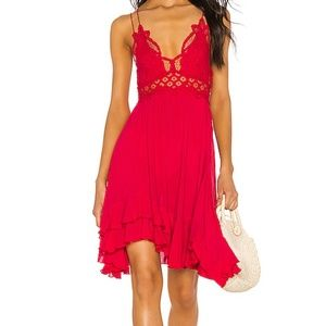 Free People Red Adella Lace Cami Slip Dress L